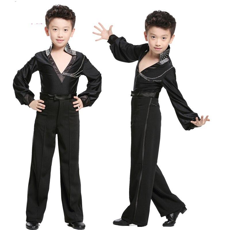 Free shipping 1 piece boys latin dance shirt ballroom dance performance shirt sequins spandex boys long