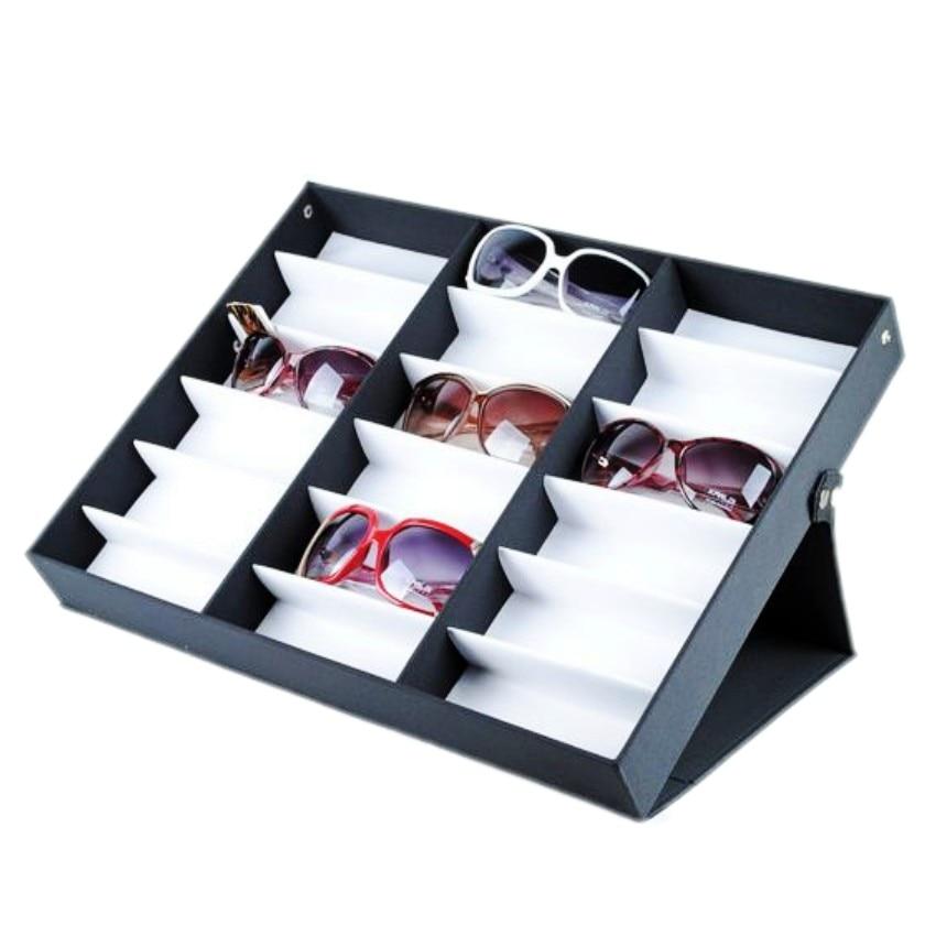 Luxury 18 Grid Sunglasses Display Tray , Eyewear, Jewelry Watches Accessories Display Organizer Box