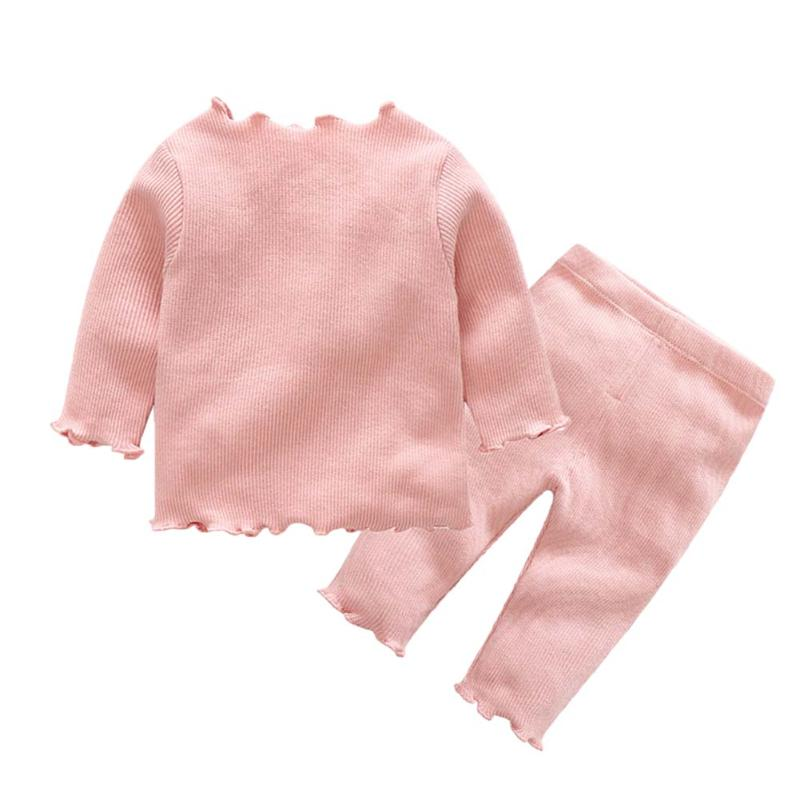 2pcs/set Baby Boys Girls Clothing Set Agaric-Lace Sleeve Solid Top+Pants Autumn Warm Cotton Baby Clothes