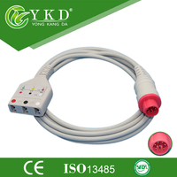 Free shipping Compatible Bionet ECG trunk cable for patient monitor 3 lead 8pin