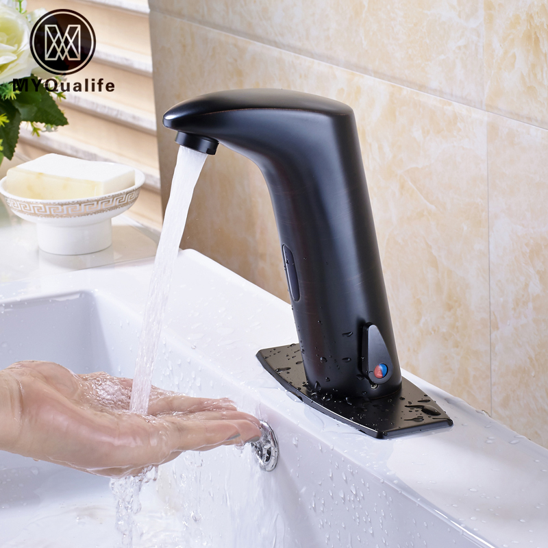 Oil Rubbed Bronze Bathroom Sensor Faucet Deck Mounted Automatic Water Saving Basin Mixer Tap Free Shipping free shipping new discount countertop bathroom automatic sensor faucet for hotel home water saving tap zr6130