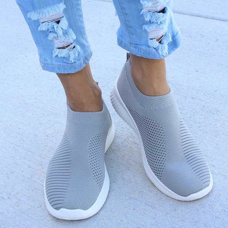 Women Sneakers Vulcanized Shoes Slip On Air Mesh Flats Breathable Casual Sock Shoes Autumn Female Walking Footwear Plus Size