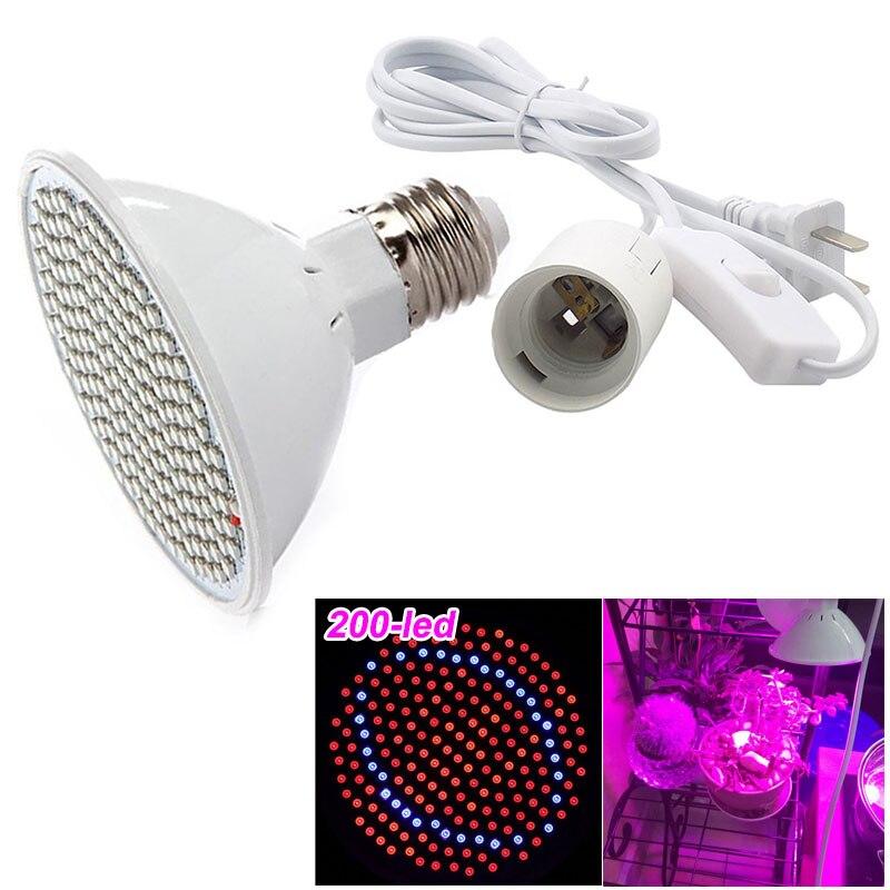 200 led Sämling Anlage Wachsen Licht Lampe Lampen Mit Ac Power Kabel Adapter gemüse Blume Wachstum Wachsen Für Innen Gewächshaus