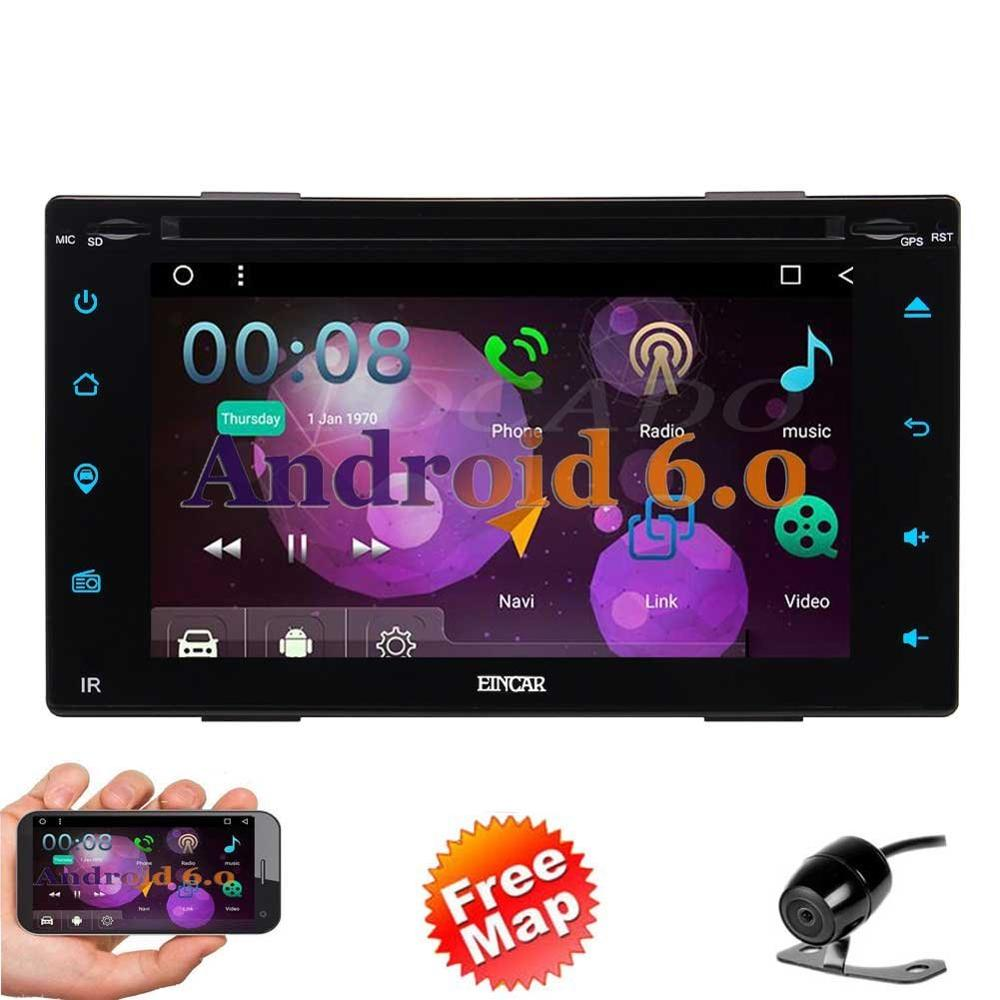 Free Reversing Camera+Android 6.0 Double Din Car DVD Player 6.2 Touchscreen In Dash GPS Navigation Car Stereo Radio Receiver S