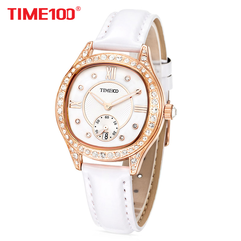 TIME100 New Women Watches Leather Strap Diamond Shell Big Dial Waterproof Ladies Quartz Wrist Watch For Women Relogio Feminino new time a11