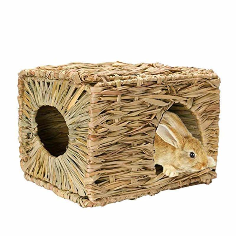 1 Pcs Lipat Jerami Rumah Kecil Kandang Hewan Peliharaan Kelinci Rumah Tidur Musim Dingin Hangat Musim Panas Dingin Kandang Hamster Sarang