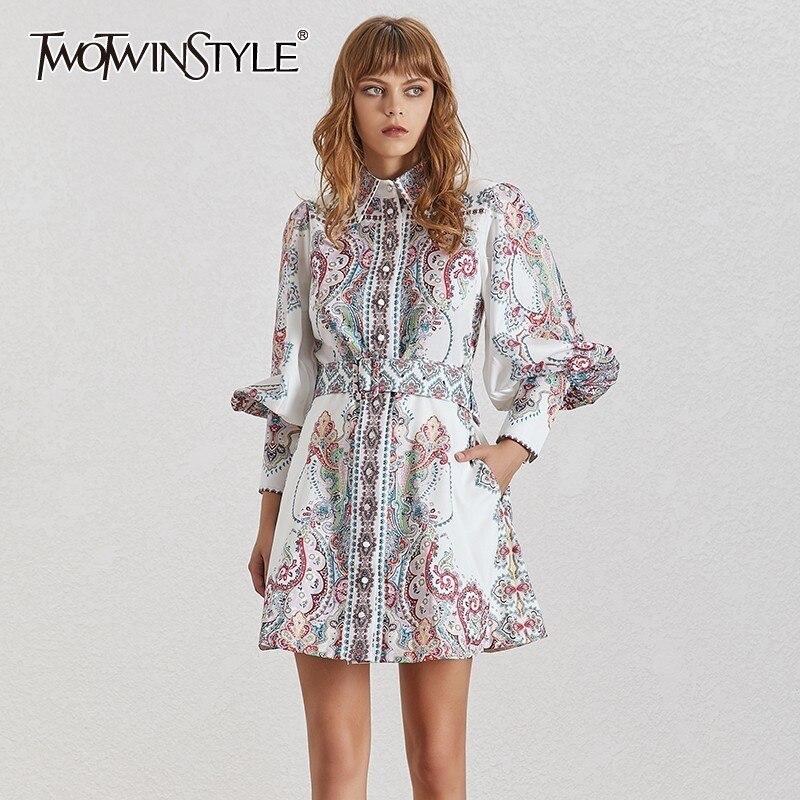 Deuxtwinstyle Vintage imprimer femmes robe revers lanterne manches taille haute avec ceintures bouton Mini robes femme mode été