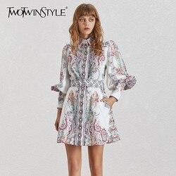 TWOTWINSTYLE Vintage Print Vrouwen Jurk Revers Lantaarn Mouw Hoge Taille Met Sjerpen Knop Mini Jurken Vrouwelijke Mode Zomer