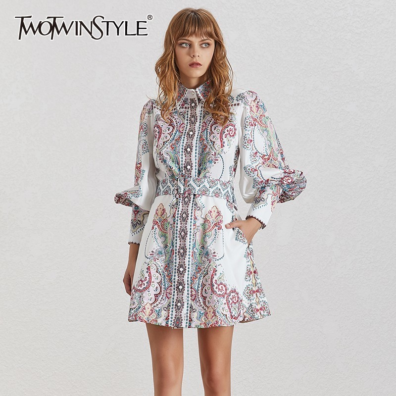 TWOTWINSTYLE Vintage Print Women Dress Lapel Lantern Sleeve High Waist With Sashes Button Mini Dresses Female Fashion Summer