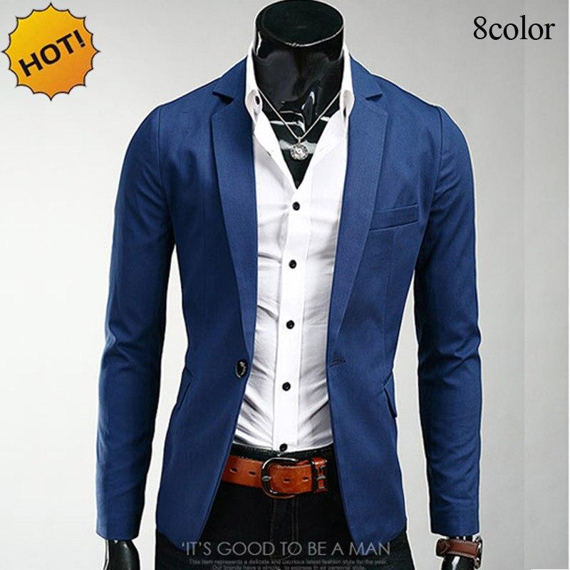 €21.58 16% de réduction Mode 2019 printemps automne Slim Fit décontracté marque vêtements simple boutonnage costume veste hommes blazer hommes coréen