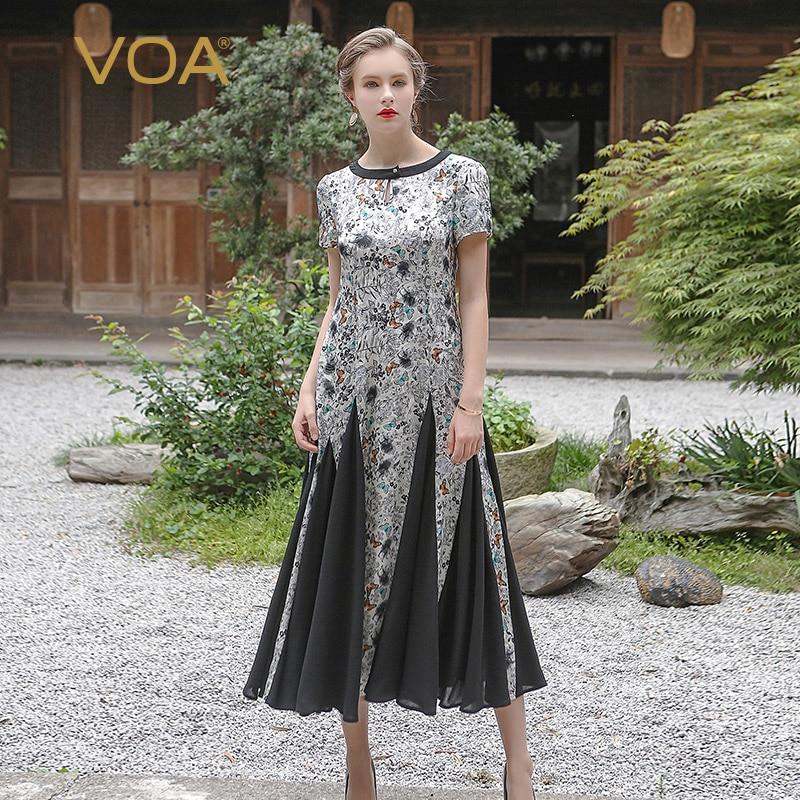 VOA 2017 Summer Silk Jacquard Grey Short Sleeve Butterfly Print Splicing Pleated Dress Vintage Plus Size Women Dress ALX06901