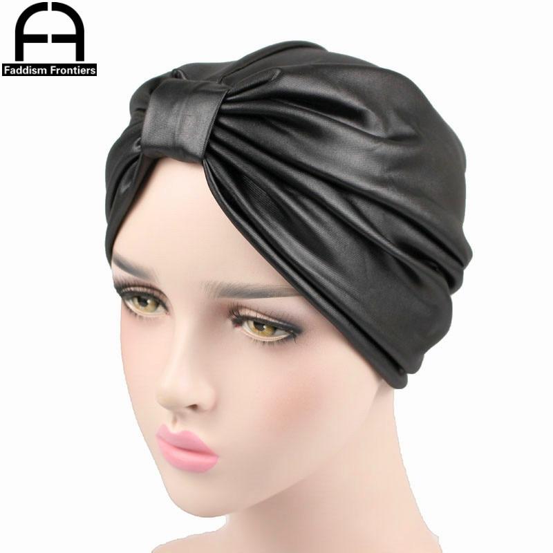 Fashion Women PU Leather Turban Twist Turban Headband Chemo Headwear Hair Cover Turbante Hat Hijab Hair Accessories Turban in Women 39 s Hair Accessories from Apparel Accessories