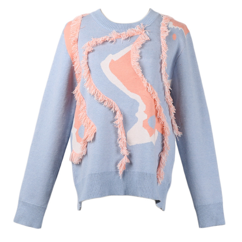 Gland Nouvelle Gy2018560 Pulls Patchwork Hiver Gruiiceen Automne Chandail Femmes Rond Jumper Bleu rose Col wqRqzSE