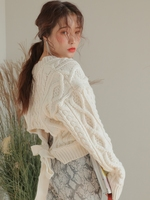 women white knit sweater back hollow out bandage jumper korean long sleeve v neck twist thicken sweaters