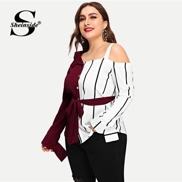 Sheinside Plus Size Striped Panel Open Shoulder Women Blouse Belted Long Sleeve Ladies Tops Elegant Asymmetrical Neck Blouses 2