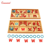 Montessori Wood Large Movable Alphabet Practice Language Toys Teaching Preschool Educational Wooden Beech Kids Toy Box LA023 3