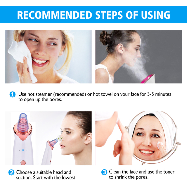 Blackhead Remover Facial Cleaner Deep Pore Acne Pimple Removal Vacuum Suction Diamond Beauty Tool Face Household SPA Skin Care 4