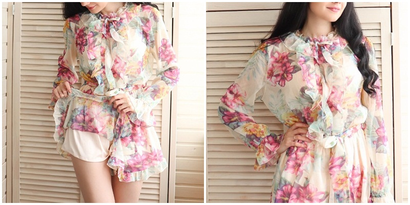 Sexy floral print ruffled women jumpsuit Elegant long sleeve romper