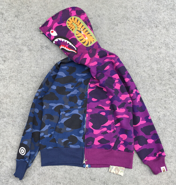 FREE SHIPPING BAPE SHARK HOODIES Joining Together Full Camo Shark Hoodies Red And Pink Blue
