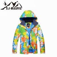 SJ MAURIE Men Ski Jacket Snow Suit Outdoor Sports Snowboard Puzzle Pattern Waterproof Windproof Ski Suit Fleece Hoodie Jacket