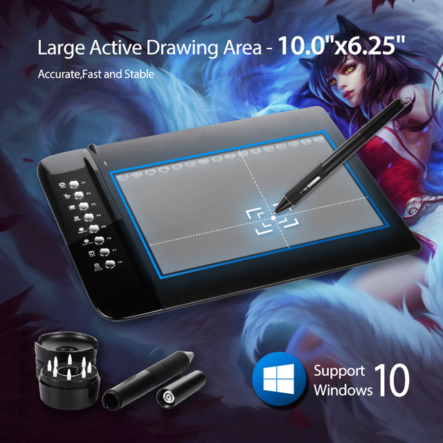 "Nueva UGEE M1000L Arte de Gráficos Del Dibujo a Pluma Digital Tablet Ultra Delgado Gran Área Activa de 10 ""x 6.2"" pluma firma PC Portátil"