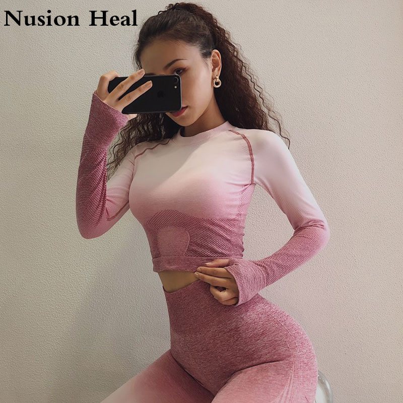 Ombre Crop Top High Stretchy Tumb Hole Workout Yoga Shirts For Women Long Sleeve Fitness Seamles Sport Gym