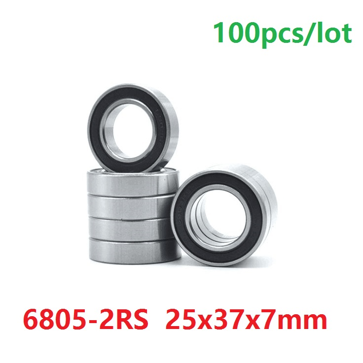 100pcs/lot <font><b>6805</b></font>-2RS 6805RS <font><b>6805</b></font> 2RS <font><b>RS</b></font> ball bearing 25*37*7 mm Deep Groove Ball Bearing 25x37x7 image