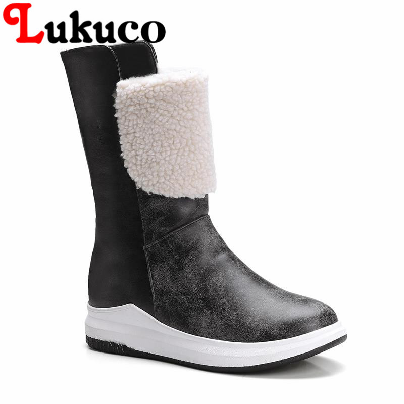 Lukuco patchwork women wedges heel mid-calf boots PU made faux far design shoes with short plush inside