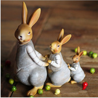 Hot Sale 1 Set 3 Pcs Rabbit Ornament Miniature Figurine Plant Pot Garden Decor Toys Home