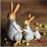 Hot Sale 1 set/3 pcs Rabbit Ornament Miniature Figurine Plant Pot Garden Decor Toys Home Crafts Classic Art Collectible