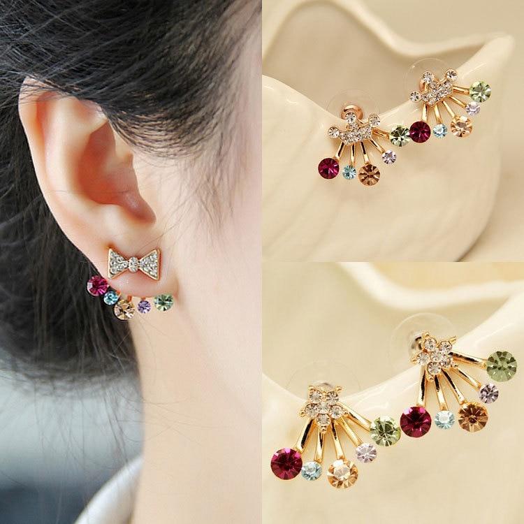 Мода Цвет Crystal Star Лук Корона золотые серьги Модные украшения серьги пирсинг для Для женщин букле Doreille Femme