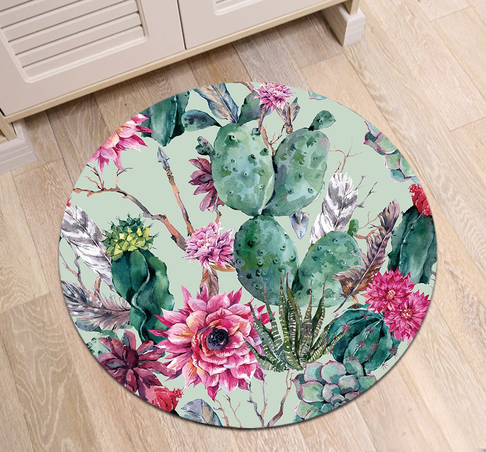 Us 12 18 40 Off Round Children S Room Floor Velboa Cushion Kitchen Area Mat Bathroom Carpets Non Slip Office Door Rugs Cactus Pink Flowers Plume In
