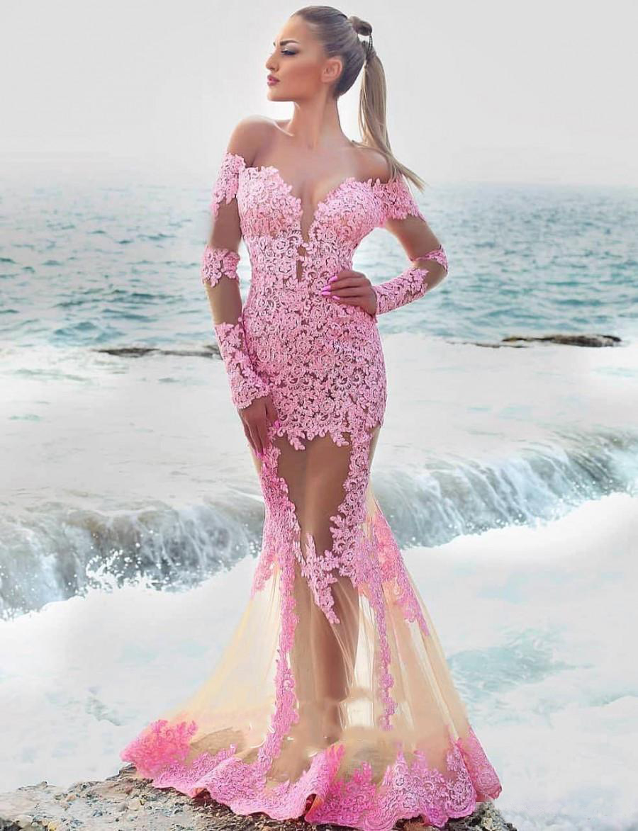 Lace Appliques Long Sleeve See Through Beach Engagement Party Nude Pink Prom Dress Sheer Mermaid