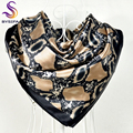 New Style Snakeskin Pattern Square Scarves Wraps Printed Hot Sale Women Pink Blue Silk Scarf Shawl Unisex Muslim Silk Muffler