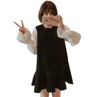 WAEOLSA Women Casual Dress Spring Black White Patchwork Dresses Woman Oversized Shirtdress Plus Size Round Neck
