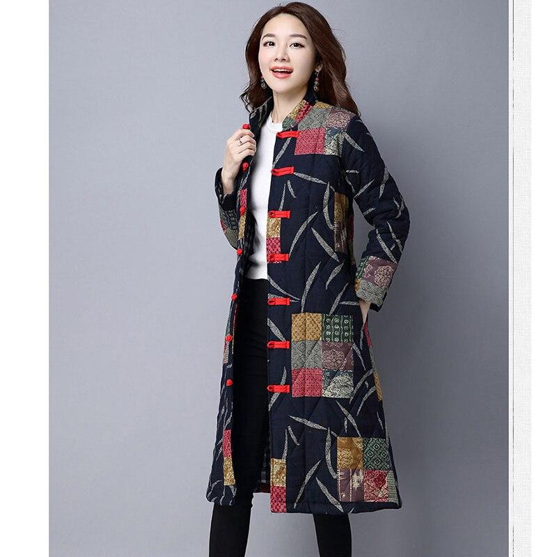 D'âge Manteau Moyen Et Veste Hiver Long Survêtement Coton Automne Épais Bleu marine Nouveau National Mère 2018 Vintage Femmes Fleurs Chaud Impression Rouge vqz88