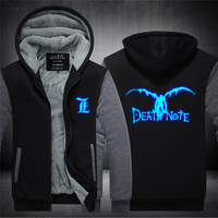 Unisex Coat Death Note Luminous Jacket Sweatshirts Thicken Hoodie Coat Casual Clothing