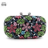 XIYUAN BRAND Luxury Crystal Evening Bag Cherry blossoms Clutch full diamond party purse pochette soiree Women evening handbag