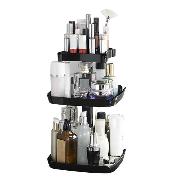 360 Degree Rotation Makeup Organizer Storage Box Cosmetic Lipstick Organizer Holder Rack JIU55