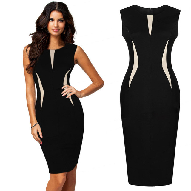 5ad6b76b23f Nice Vintage Elegant ColorBlock Patchwork O-Neck Bodycon Women Office Wear  to Work Plus Size Business Dress Party Bodycon