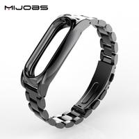 Mijobs Metal Strap Plus No Screw Design Stainless Steel Metal Strap For Xiaomi Mi Band 2