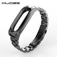 Mijobs Metal Strap Plus No Screw Design Stainless Steel Metal Strap For Xiaomi Mi Band 2