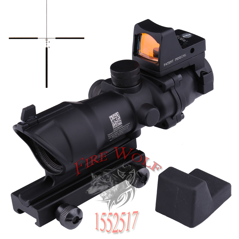 Trijicon ACOG 4x32 with Lron Sights 20mm Weaver Picatinny Rail Mounts Hunting Tactical Rifle Scope w/RMR Red Dot