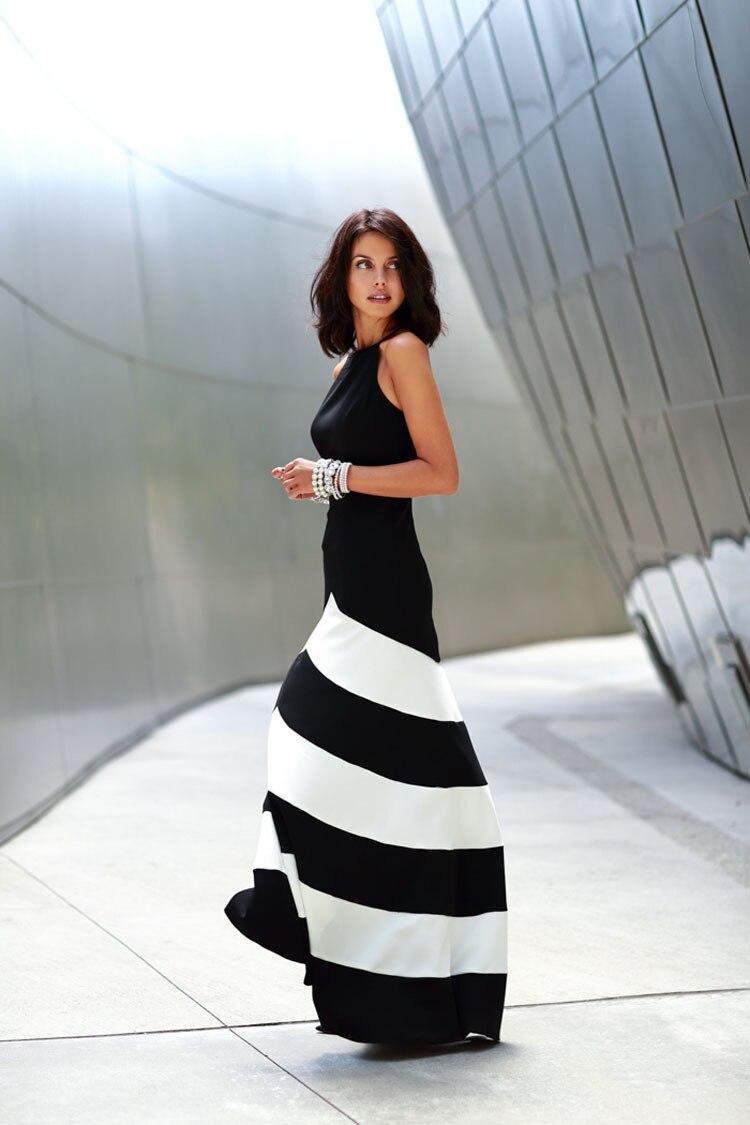 Черные и белые полосы сшивание Для женщин длинные setion платье Холтер модные, пикантные Элегантный Тонкий был тонкий Платья для женщин Femme ...