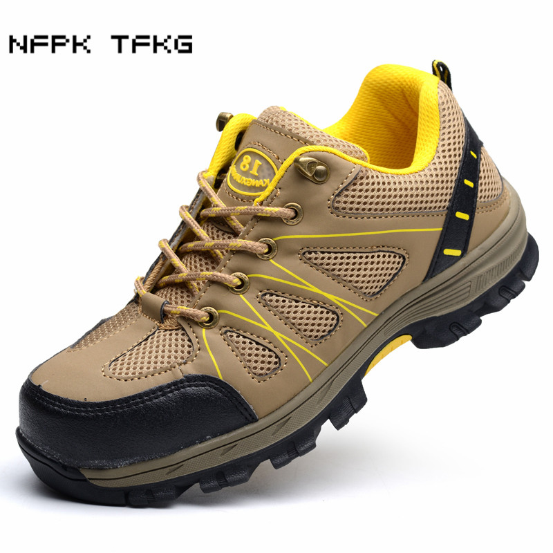 building site worker dress men's casual large size breathable steel toe covers work safety shoes platform sneakers security boot все цены