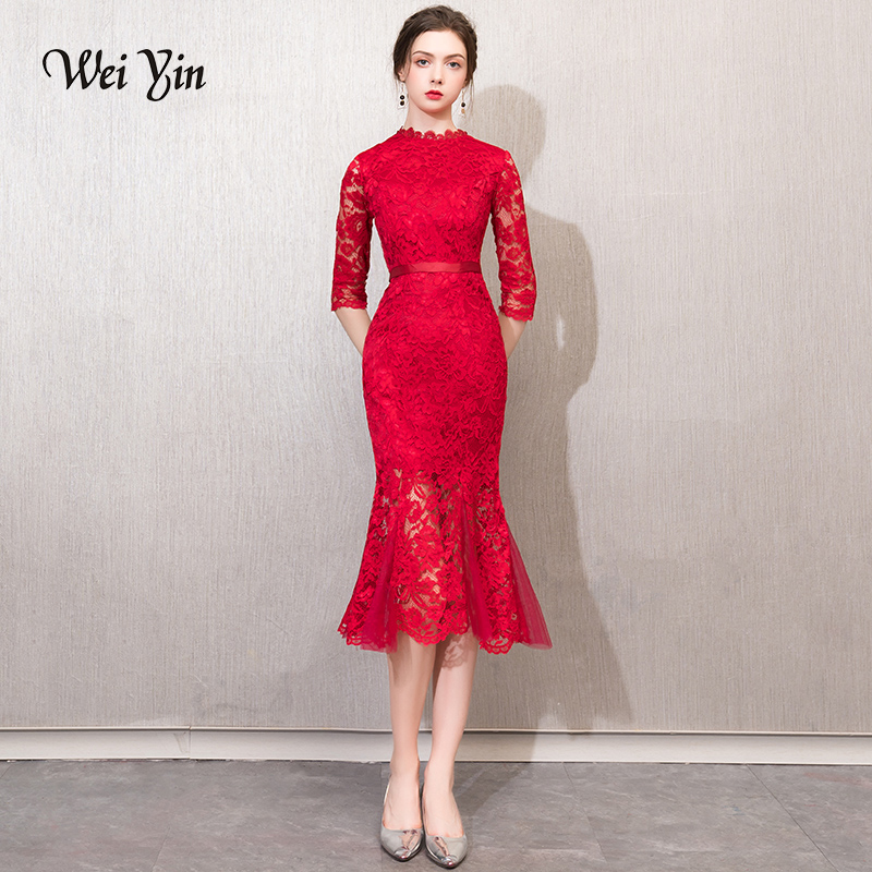 weiyin Half Sleeve   Evening     Dress   New Fashion Lace Mother of the Bride   Dresses   Long Gown Red Formal   Dresses   Party   Evening   Gowns