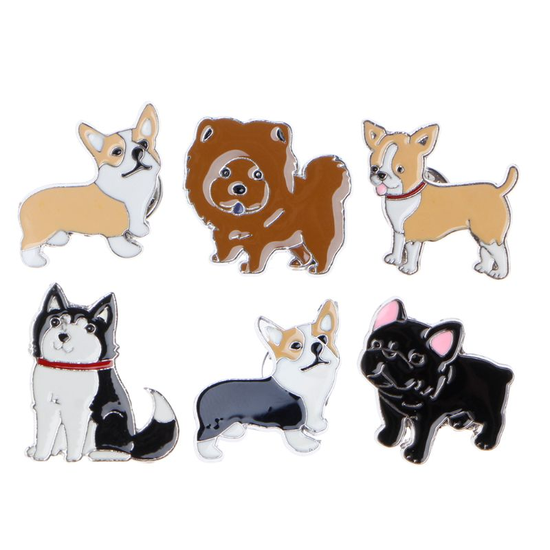 Apprehensive Pet Puppy Husky Corgi Ji Wawa Dogs Enamel Brooches Pins Cute Pet Lovers Jewelry