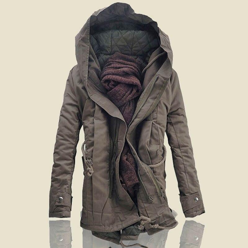 YuWaiJiaRen Fashion Winter Parka Men Thick Warm Zipper Outerwear Hooded Black Military Coat Mens Long Jackets Oversized 5XL
