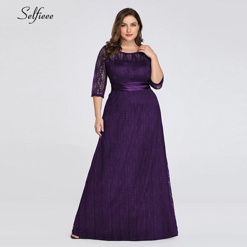 Elegant A Line Grey Lace Party Dress Women 2020 New Spring Elegant O Neck Half Sleeve Plus Size Dress Long Maxi Dress Robe Femme 3