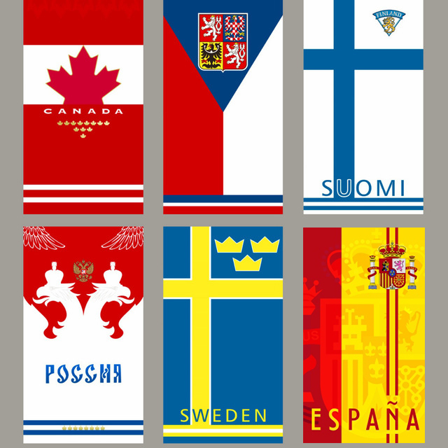 Canada Czech Finland Russia Sweden Spain National team towels sports travel towel Ice hockey towel compact quick-dry towel
